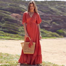 Summer Women Bohemian Dress Long Sexy V Neck Ruffles Short Sleeve Dresses Lace Up Red Beach Dress Holiday Elegant Dress