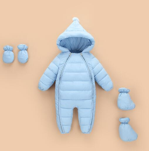 Winter Baby Rompers Newborn Infant Down Cotton Snowsuit Baby Boys Girls Warm Overalls Kids Jumpsuit Outerwear clothes iyeal kids winter jackets 2017 new solid hooded baby girls boys cotton thincken coats infant outerwear warm clothes 1 4 years