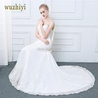 Wuzhiyi New Arrival Lace Appliques Mermaid Seelveless Vintage Wedding Dresses Bridal Gowns Wedding Dress 2017 Vestidos