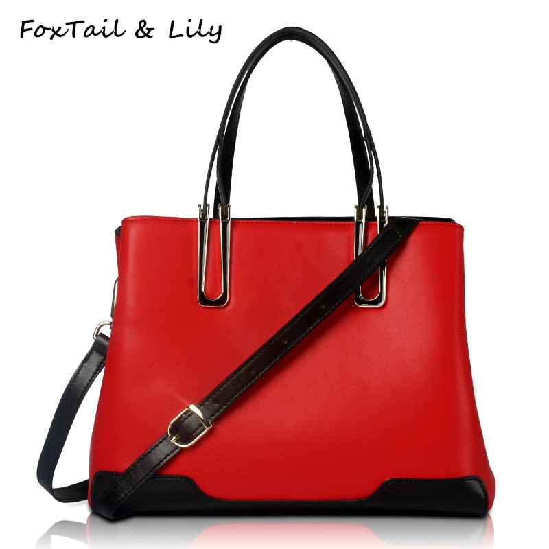 FoxTail & Lily Contrast Color Ladies Handbags Genuine Leather Women Messenger Bags Luxury Designer Casual Tote Shoulder Bags недорого
