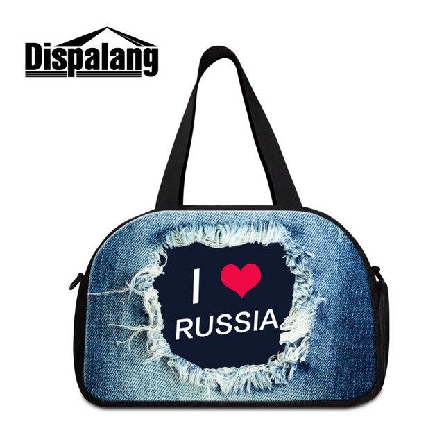 Dispalang Denim Print Men's Travel Luggage Bags Female Tote Shoulder Travel Bags Large Women Weekend Bag Travel Duffle Tote