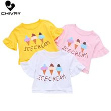Chivry Summer 2019 New Little Girls Fashion Cartoon Ice Cream Print T Shirt Tops Girl Kids Flare Short Sleeve O-Neck T-shirts