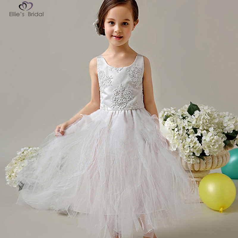 Ellies Bridal New Flower Girl Dress White Ivory Real Party Pageant Communion Dress Little Girl Kids Children Dress for Wedding