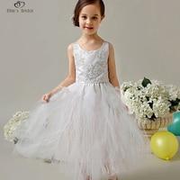 Ellies Bridal New Flower Girl Dress White Ivory Real Party Pageant Communion Dress Little Girl Kids