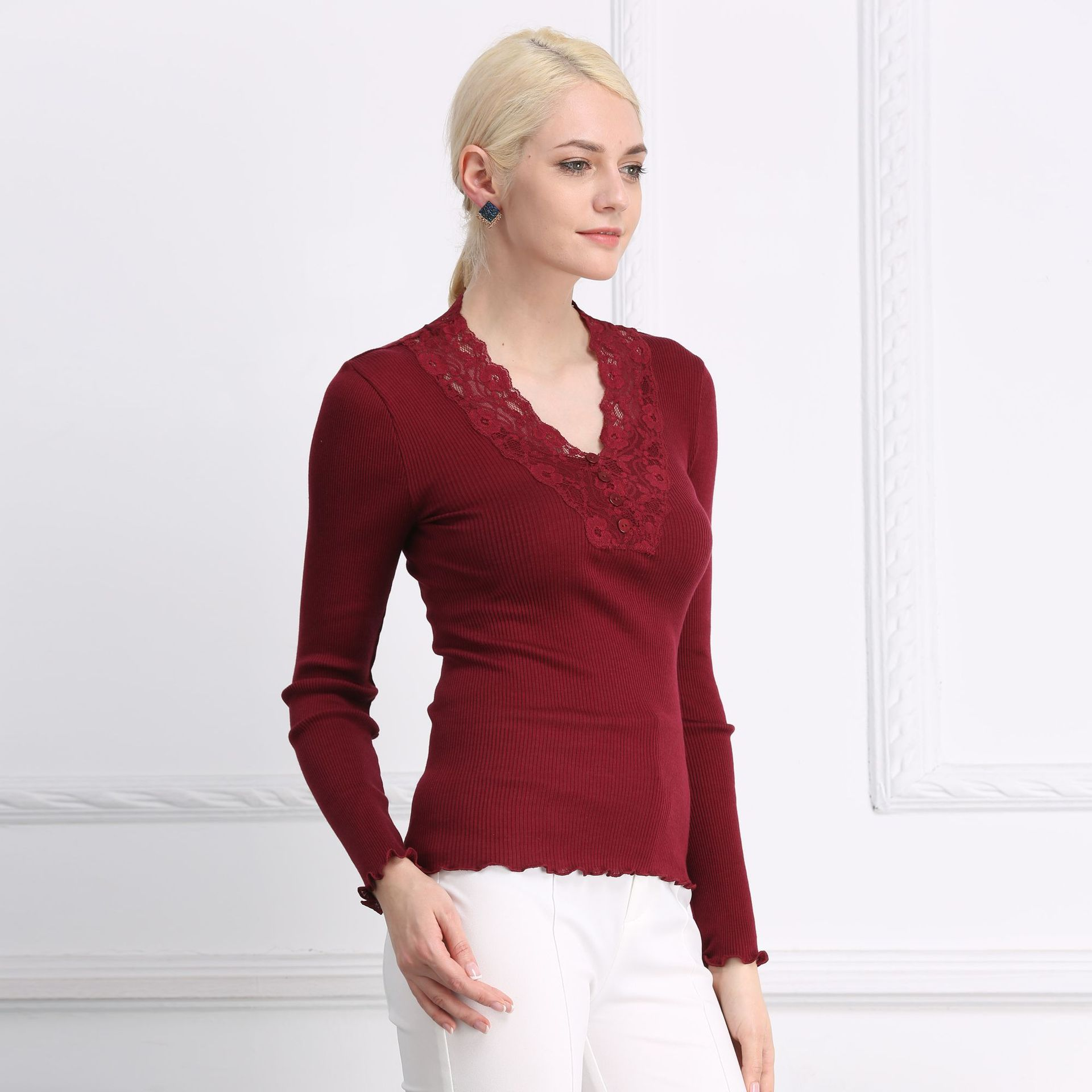 Women Sexy 70 Nature Silk 30 Cotton Lace T shirt V Neck Collars Knitted Nature Long