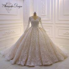 فستان زفاف مخصص عالي الجودة بأكمام طويلة دانتيل كريستالي فستان زفاف فاخر