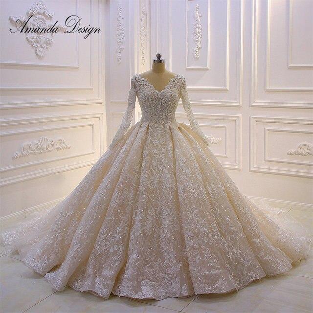 カスタムメイドブライダルドレス高品質長袖レースクリスタルウェディングドレス高級