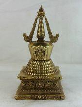 Tibetan Buddhism 100% Brass Shakyamuni Eight treasures Tathagata stupa pagoda