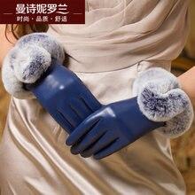 Winter rabbits hair lovely sheepskin gloves genuine leather add velvet Thicken Keep Warm woman telefingers MLZ001