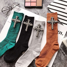 Фотография New Fashion Woman Handmade Sequins Rhinestone Cross Socks Winter Autumn Casual Sock Female Harajuku 1 Pair