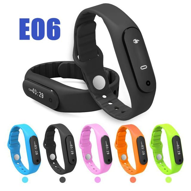 À prova d' água Do Bluetooth Inteligente Pulseira Smartband E06 Saúde pulseira rastreador de fitness Esporte Relógio Para IOS iPhone Android smartphone