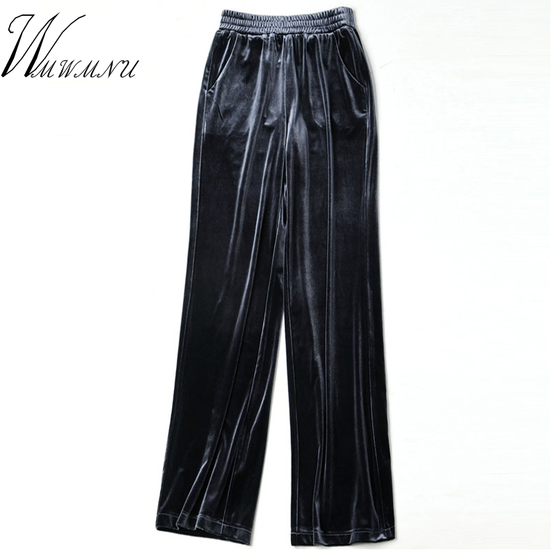 Autumn Spring Pleuche Women Pants 2018 High Quality Lace-Up Waist Wide Leg Trouseres And Ladies Casual High Waist Sweatpants 1