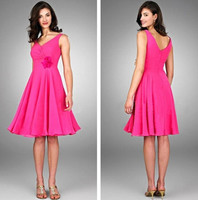 Wholesale New Knee length chiffon Bridesmaid Dresses with V neckline Sleeveless with Zip Back Party Gowns