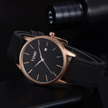 TOMI Fashion Casual Men 's Bussines Retro Design Leather Round Band Watch uomo box watch band Christmas gift _12.20