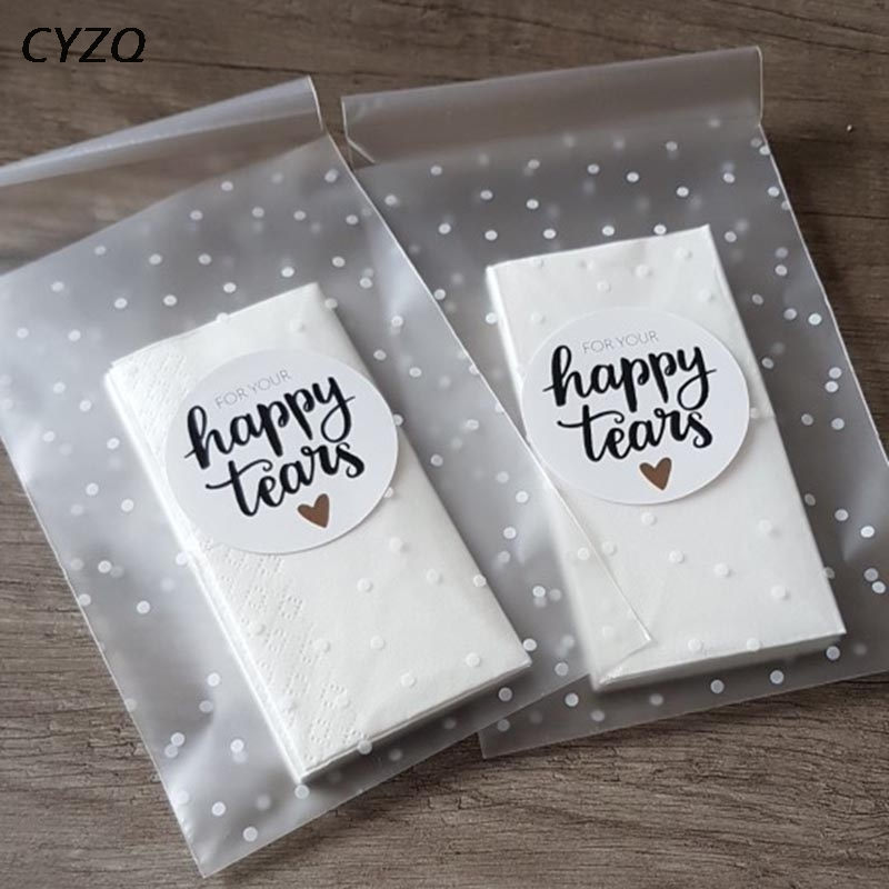 Gift Packages Plastic Cookie Pocket Cute Bow Design Candy Bag Self-Adhesive