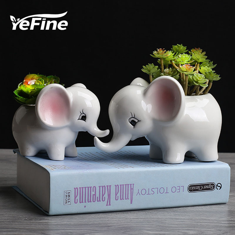 YeFine Cartoon Elephant Flower Pots Succulent Plant Flowerpot Ceramic Bonsai Pots Garden Flower Planter Pots Home Office Decor