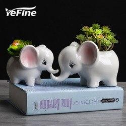 Yefine elefante dos desenhos animados vasos de flores planta suculenta vaso de flores cerâmica bonsai potes jardim flor plantador vasos decoração de escritório em casa