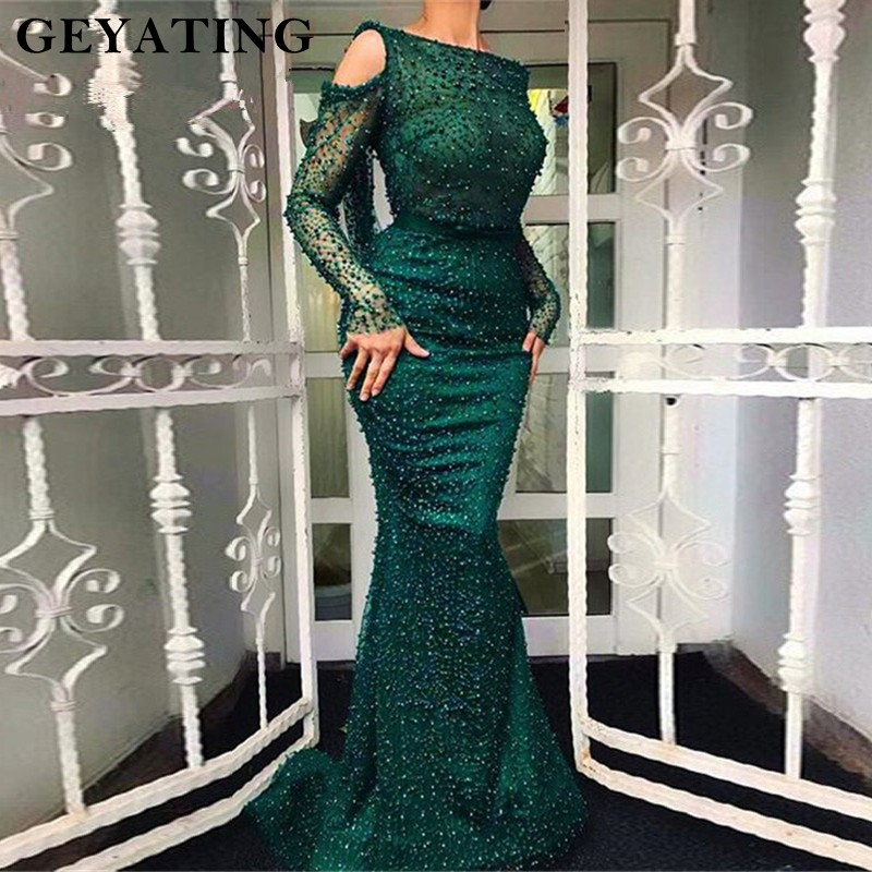 Emerald Green Long Sleeves Dubai Evening Dress 2019 Arabic Women Formal Mermaid Evening Gowns Pearls Backless Long Party Dress