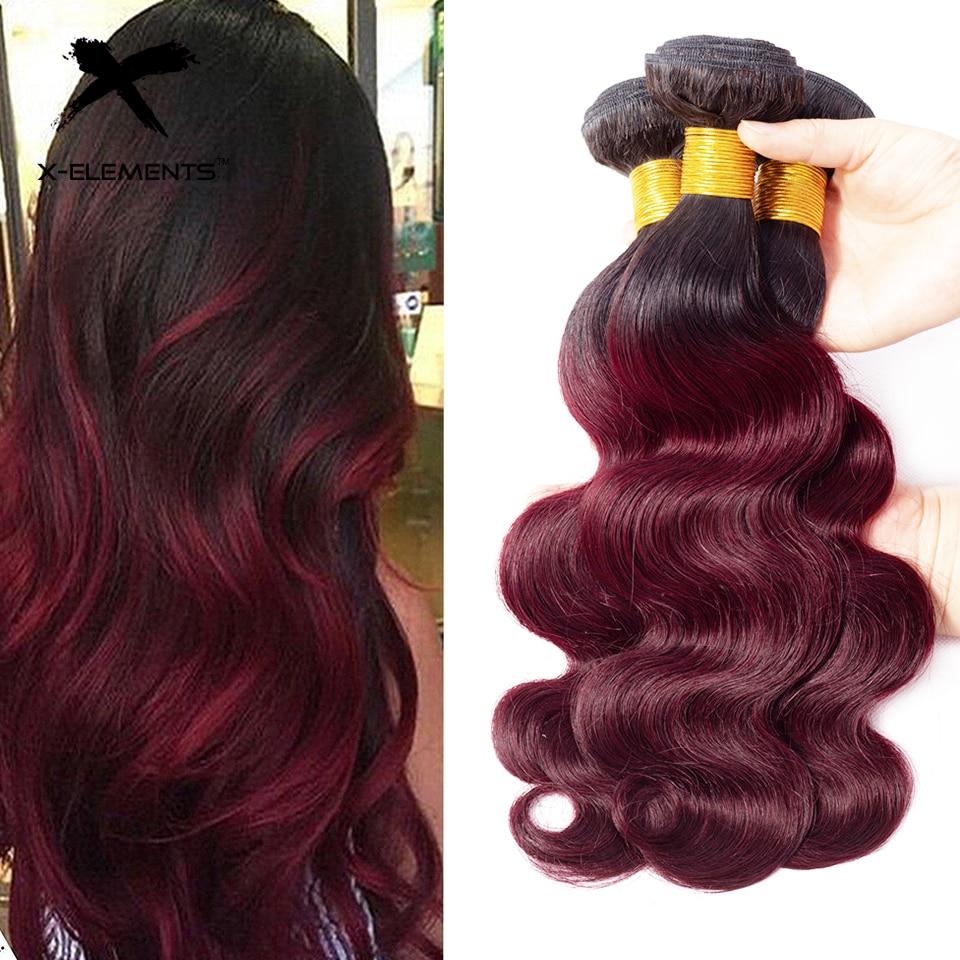 X-Elements Ombre Brazilian Body Wave Hair Bundles T1B Red T1B 30 T1B Burgundy Ombre Human Hair Extensions Two Tones Hair Weave Bundles (27)