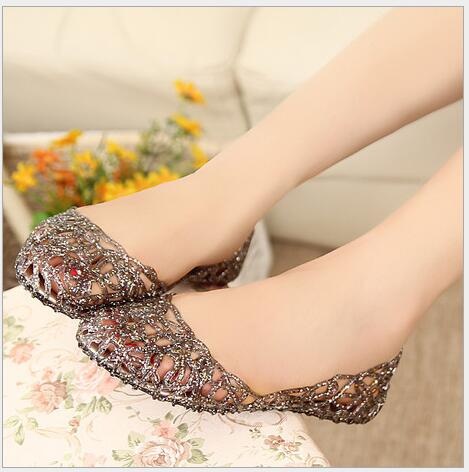 Summer Bird's Nest Sandals Shiny Crystal Flat with Jelly Shoes Flat-bottomed Hole Shoes Female Beach Openwork Sandals