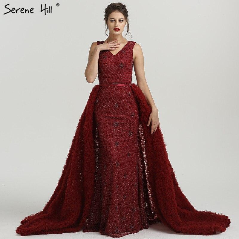 2019 Newest Deep-V Mermaid Tulle Evening Dresses Sleeveless Sequined Luxury Sparkly Evening Gown Vestido De Festa LA6456