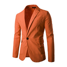 New winter males's informal single row a protracted sleeved linen colour button go well with celebration costume
