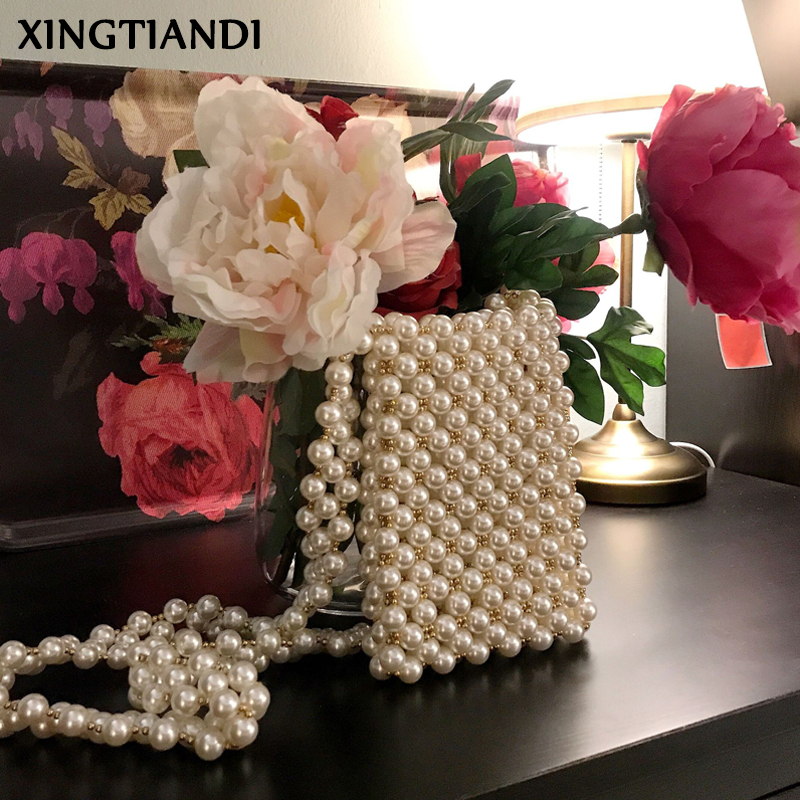 New Ins Pearl Shoulder Bag Beaded Evening Bags Female Elegant Pearl Strap Mini Purses Wedding Party Bag