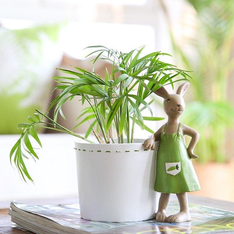 Смола горшка милый кролик рисунок Цветочный Горшок Кашпо домашнего украшения сада коробка для хранения декоративные горшки