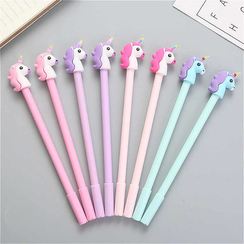 0.5mm Kawaii gel pen creativos Cartoon cute Unicorn model office student Supplies Stationery Pen christmas gift