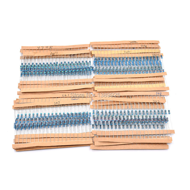 600pcs/pack 1/4W 30 Kind Metal Film Resistors Assorted Kit 1% Each 20 600pcs/pack ,for Arduino For Raspberry Pi, Board Kit
