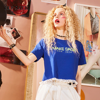 ELF SACK Women Crop Top Lace Summer T Shirts Womens Letter Printing Loose Casual Tee Female