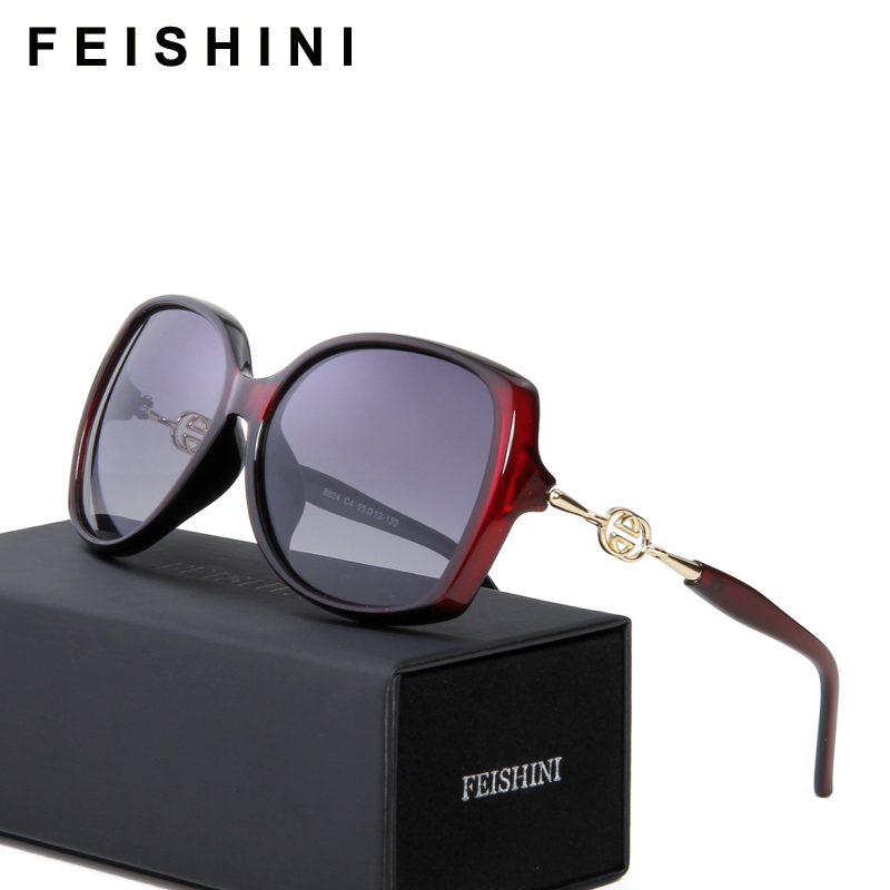 FEISHINI høykvalitets FDA-mote Driving oculos de sol feminino HD UVA Big Frame Gradient Sunglasses Women Polarized Vintage
