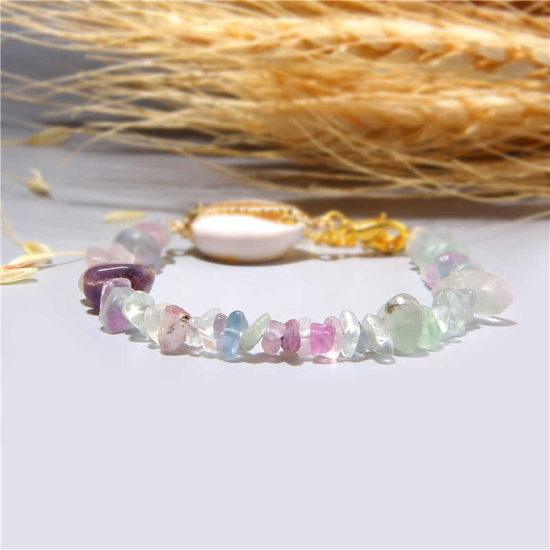 Crystal rose pink quartz bracelet boho natural shell bracelet gold Link Chain Bracelet summer women bracelets jewelry wholesale