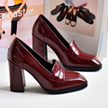 Fashion Square Toe Verano Bombas de Las Mujeres 2017 Nuevo Retro de Espesor Oficina Tacones altos Zapatos Mujer Resbalón de Patentes de Cuero Individuales zapatos