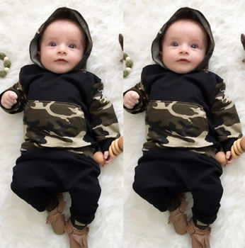 2pcs!! Hot Sale Infant Clothes Baby Clothing Sets Baby Boys Camouflage Camo Hoodie Tops Long Pants 2Pcs Outfits Set Clothes 1