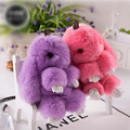 100% Real Genuine Rex rabbit Furs Keychain Pendant Bag Car Charm Tag Cute Mini Rabbit Toy Doll Real Fur Monster Keychains x215