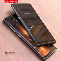 For Samsung Galaxy Note 8 Case Original Luphie Aluminum Metal Frame 9H Transparent Tempered Glass Back