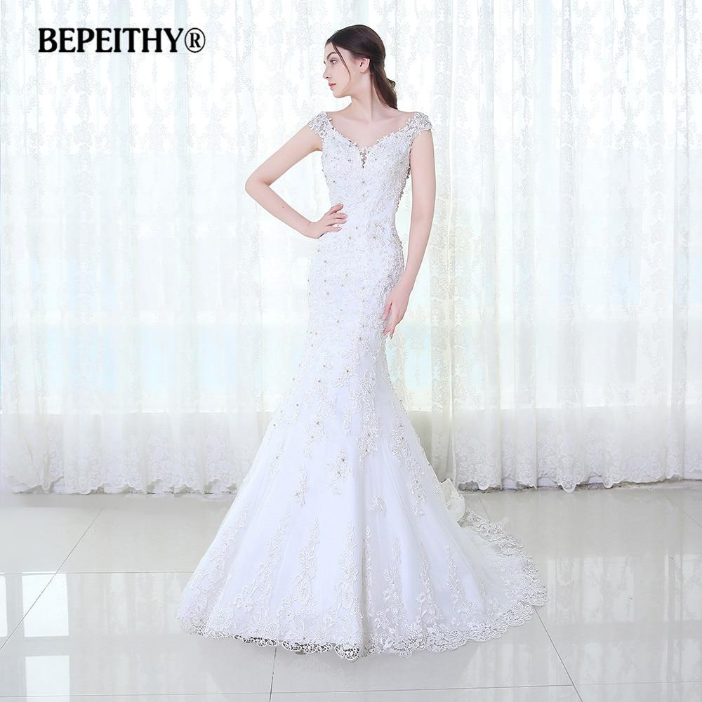 Bepeithy Кружево свадебное платье с открытыми плечами Vestido De Novia Casamento 2017 Русалка Свадебные Платья для женщин суд поезд