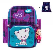 Delune 2019 Cartoon Children School Backpack For Girls Cat Pattern Bags Orthopedic Backpacks Mochila Infantil Grade 1-3