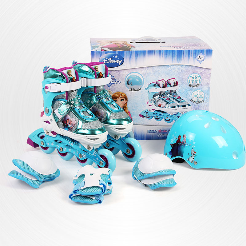 Disney Adjustable Skates Inline Skating Shoes Adjustable Washable Flash wheels Children Roller Skating Shoes