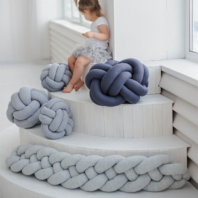 1M/2M/3M Baby Braided Crib Bumpers Knot Pillow Cushion, Four Tied Newborn Nursery bedding,<font><b>Cot</b></font> Room Dector