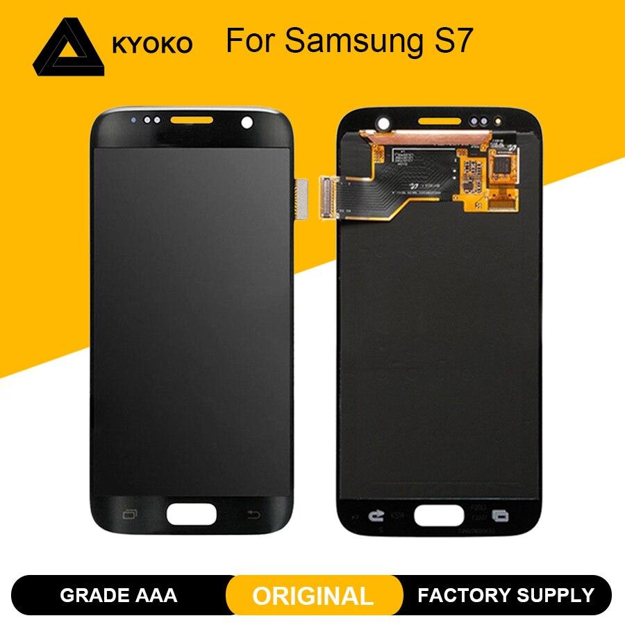 Original 5.1 ''SUPER AMOLED affichage pour Samsung S7 G930 G930F LCD pour S7 écran tactile numériseur assemblée remplacement