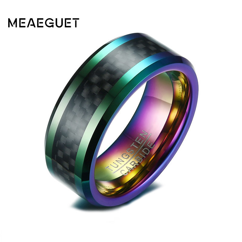 Meaeguet Muti-Color Carbon Fiber Men Ring Wedding Brand 8MM Wide Tungsten Carbide 2.6MM Thick Ring Trendy Male Jewelry