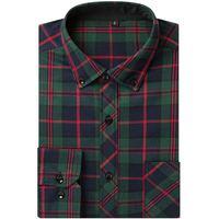 Autumn Spring Mens Plaid Casual Shirts Long Sleeve 100 Cotton Dress Shirt Men Fashion Style Camiseta