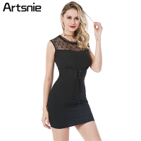 Artsnie Black Lace Up Sexy Mini Sheath Dress Women Summer 2018 Mesh Sexy Party High Waist