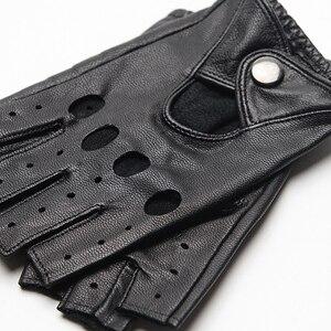 Image 4 - Gours Genuine Leather Gloves for Women Black Fashion Goatskin Fingerless Gloves Winter Half Finger Fitness New Arrival GSL052