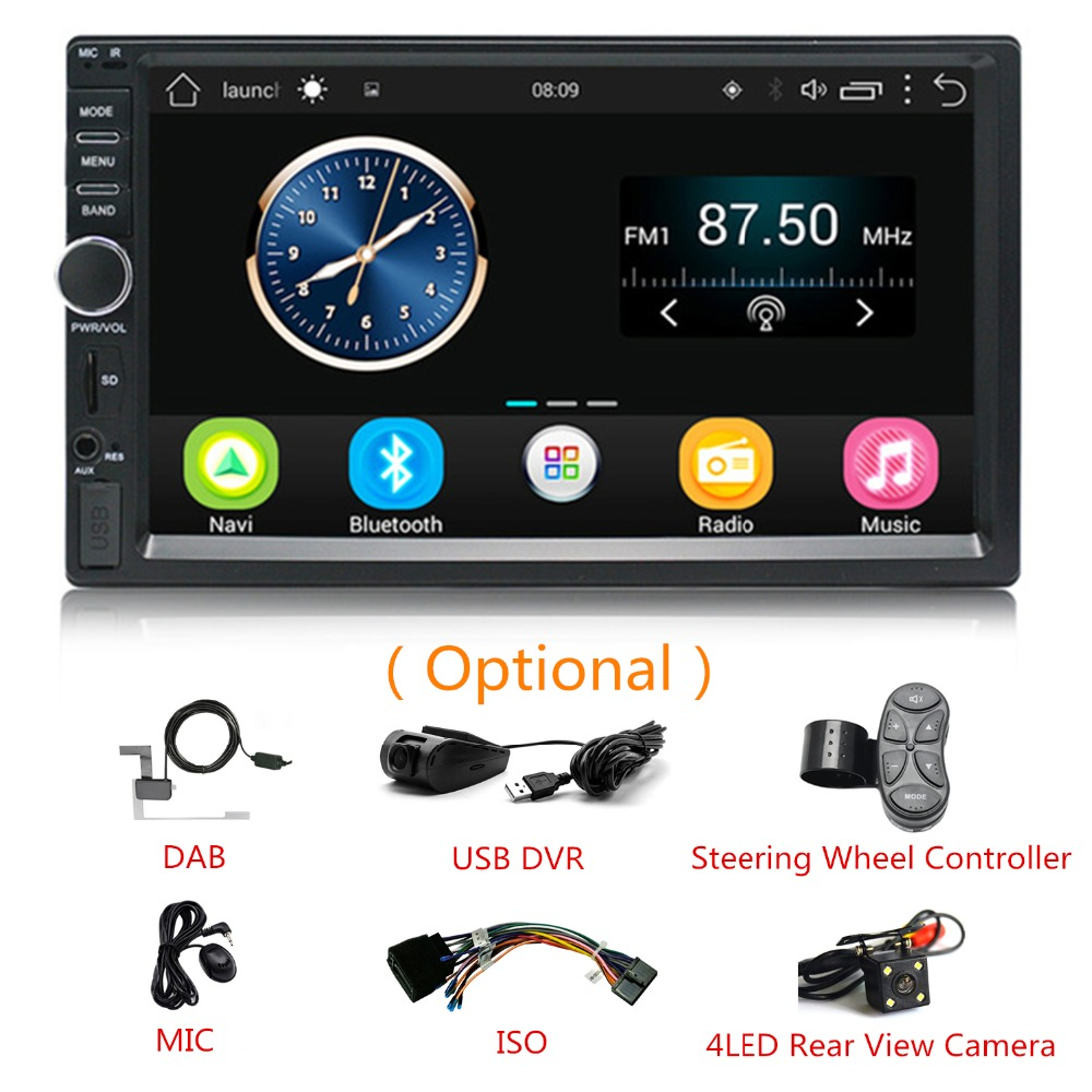2 DIN Android Car Stereo GPS Navigation 7'' Car Video Audio Player AM/FM Radio USB/AUX Steering wheel controller DVR Camera