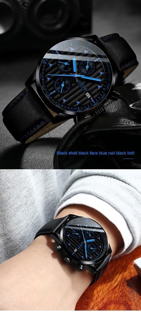 HTB1rCfgaOfrK1RjSspbq6A4pFXa2 Luxury Men's Quartz Watch Sport Casual Wristwatch Men Military Watches Clock Man Leather Wrist Watch Date Waterproof 30M Relogio
