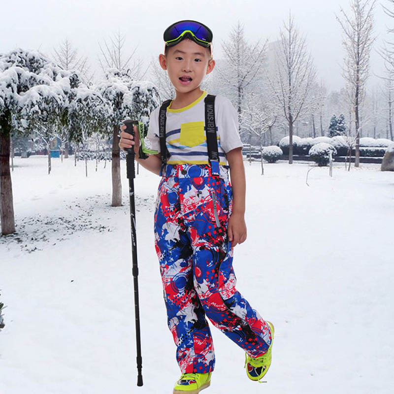ФОТО Marsnow Children Printing Snow Pants Unisex Thermal Ski Pants Boy Girl Ski Waterproof Skiing Pants Kid Snowboard Trousers