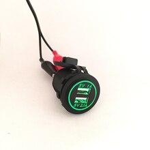 DIY 12 V-24 V Dual USB Cargador de Coche Toma de Corriente 1A y 2.1A para ipad iphone móvil llevó la luz del coche del barco marina azul rojo verde orange